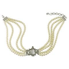 Christian Dior Vintage Multi Strand Pearl Logo Choker Necklace