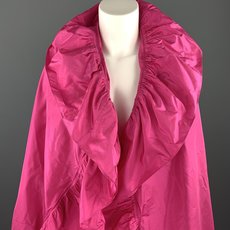 Vintage 1970's CHRISTIAN DIOR BOUTIQUE evening shawl comes in bold fuchsia silk taffeta with a pleat gathered ruffle trim. Made in Italy.  Excellent Pre-Owned Condition.  Length: 81 in. Width: 54 in.