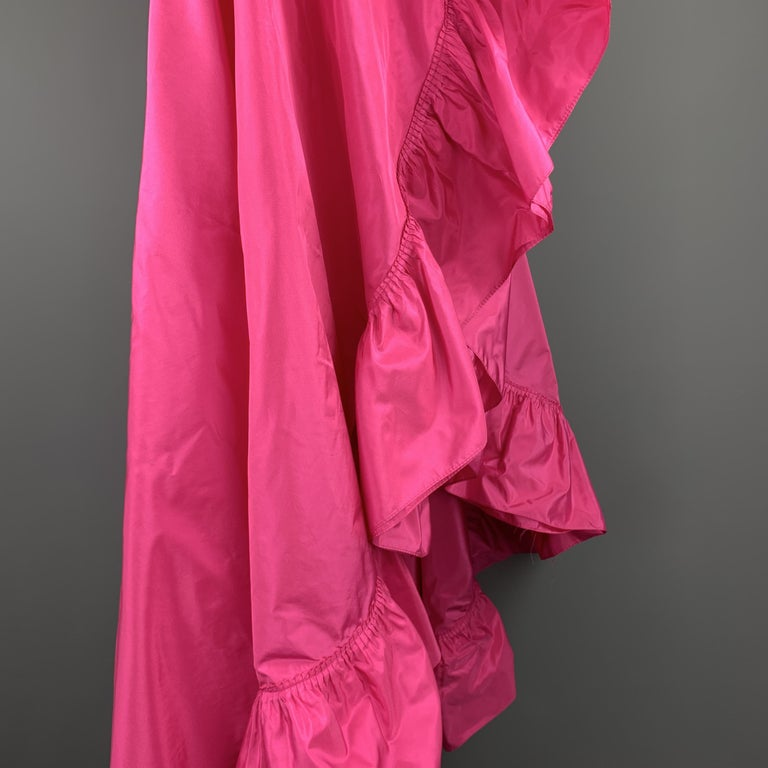 Women's CHRISTIAN DIOR Vintage Pink Silk Taffeta Pleated Ruffle Shawl For Sale