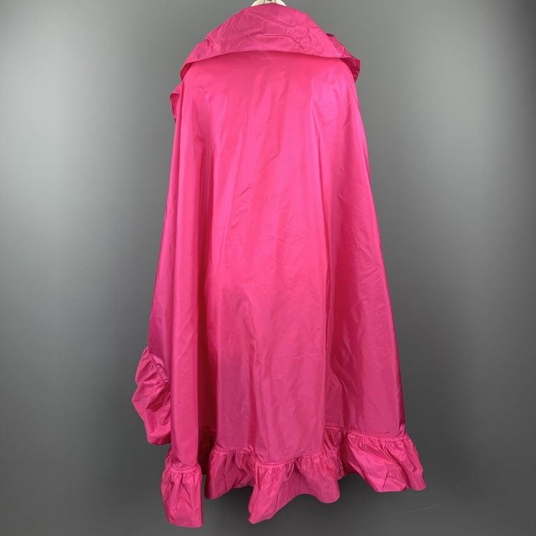 CHRISTIAN DIOR Vintage Pink Silk Taffeta Pleated Ruffle Shawl For Sale 1