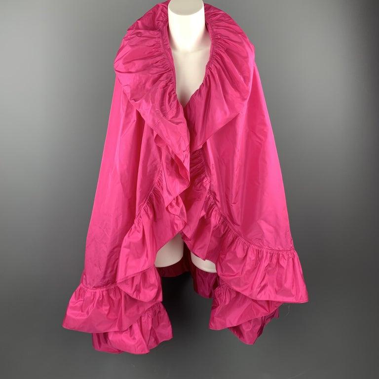 CHRISTIAN DIOR Vintage Pink Silk Taffeta Pleated Ruffle Shawl For Sale 2