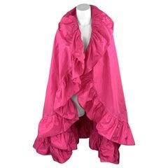 CHRISTIAN DIOR Vintage Pink Silk Taffeta Pleated Ruffle Shawl