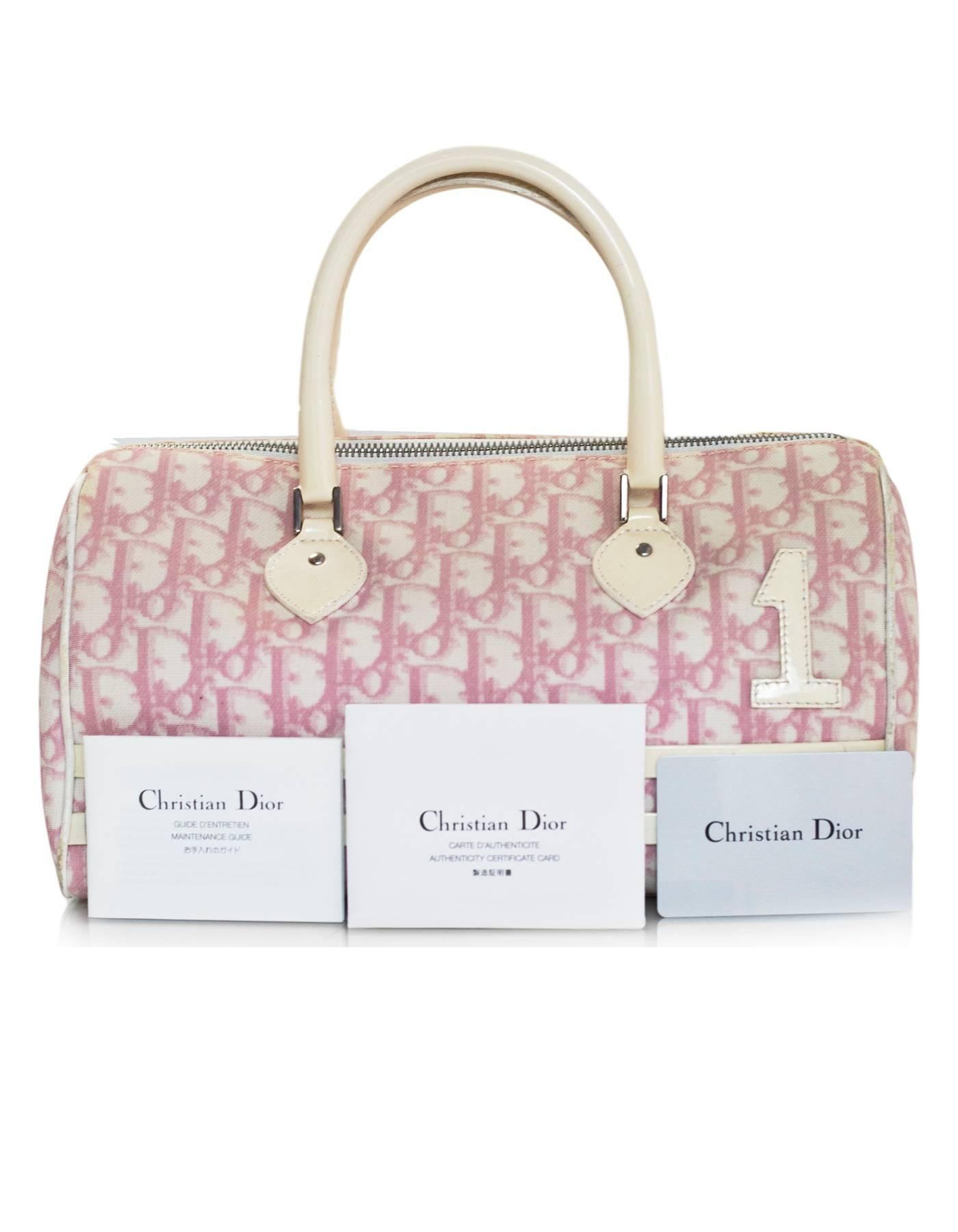 8d7d358a0699 Christian Dior Vintage Pink and White Diorissimo Monogram Boston Bag For  Sale at 1stdibs