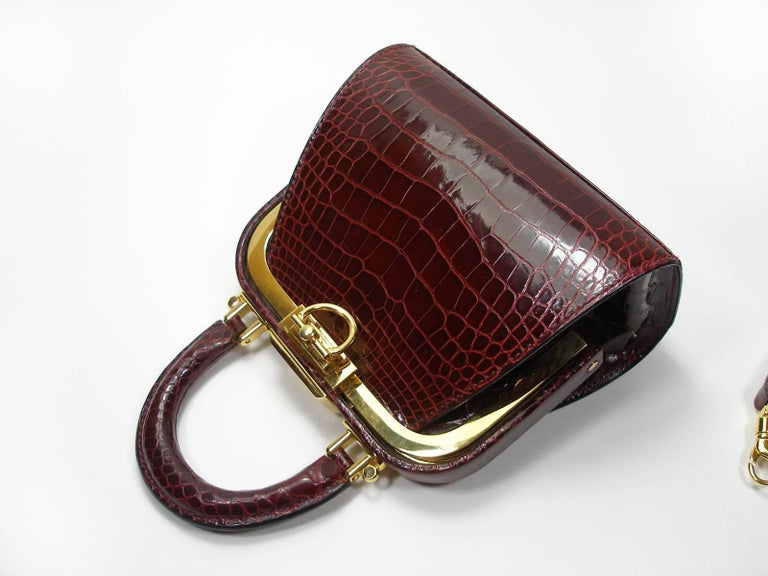 41f2a9a925f Christian Dior Vintage Rare Doctor Style Micro Handbag in Alligator Leather  For Sale 8