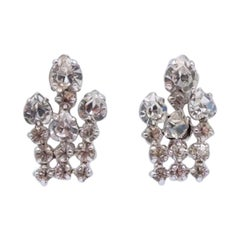 Christian Dior Vintage Rhinestones Earrings 1970's