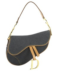 Christian Dior Vintage Saddle Bag Denim Medium