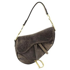 Christian Dior Vintage Saddle Bag Distressed Leather Medium
