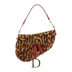 Christian Dior Vintage Saddle Bag Printed Pony Hair Medium