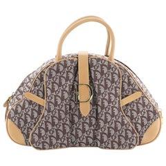 Christian Dior Vintage Saddle Bowler Bag Diorissimo Canvas Medium