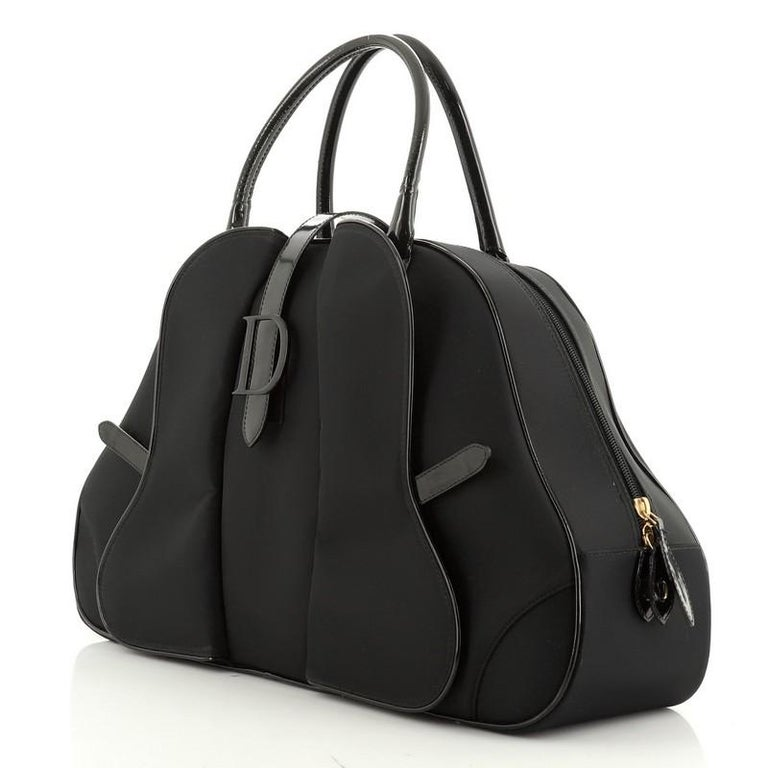 Christian Dior  Vintage Saddle Bowler Bag Nylon Large In Good Condition For Sale In New York, NY