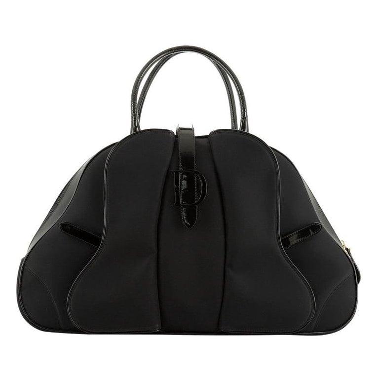 Christian Dior  Vintage Saddle Bowler Bag Nylon Large For Sale