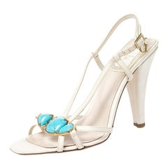 Christian Dior White/Blue Leather Open Toe Piedra Sandals Size 36
