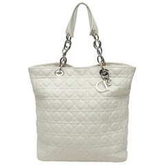 Christian Dior White Cannage Soft Shopper Tote