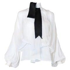 Christian Dior White Chiffon Poet Blouse