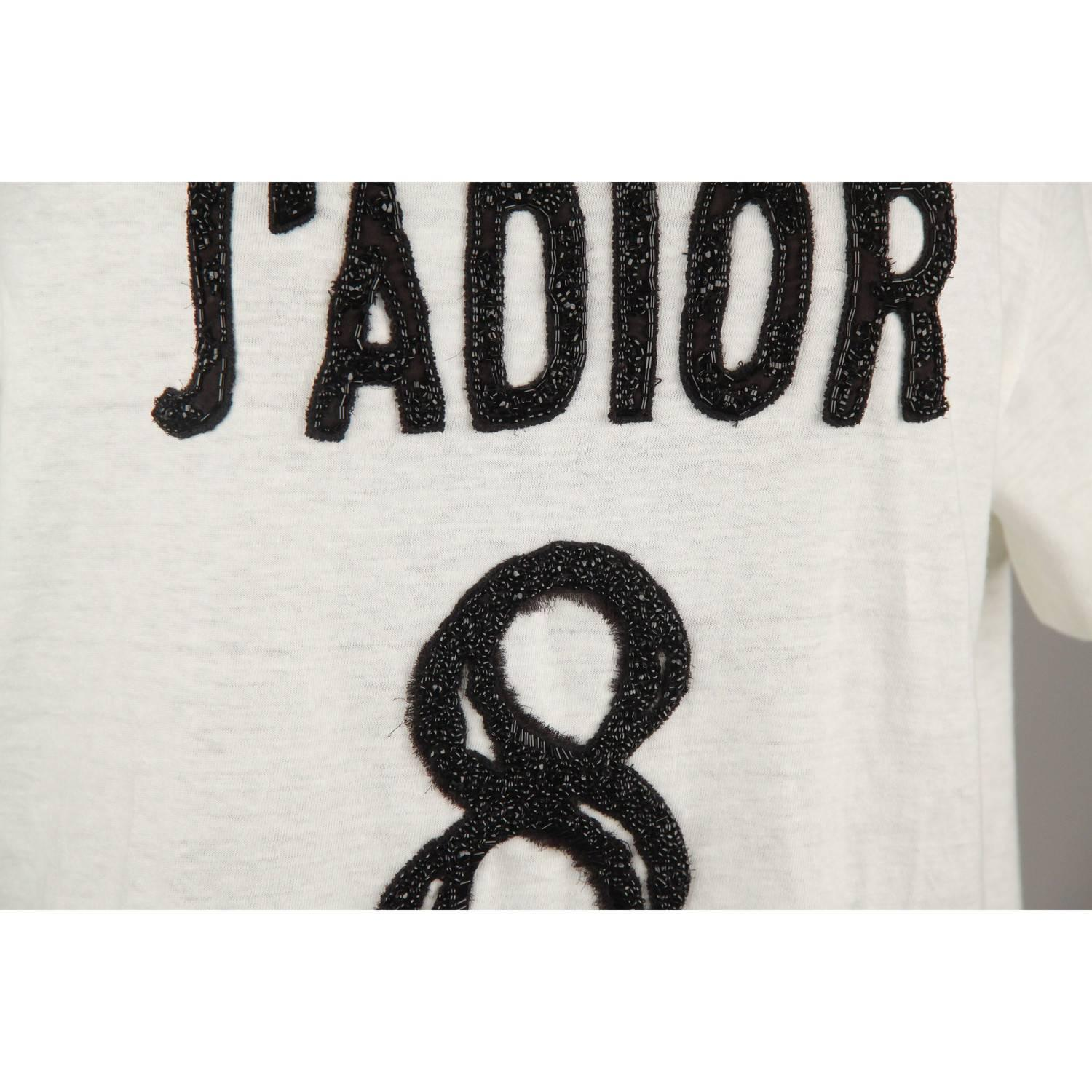 1ccf7b12 CHRISTIAN DIOR White Cotton and Linen J'Adior 8 Tee Top T Shirt Size S For  Sale at 1stdibs