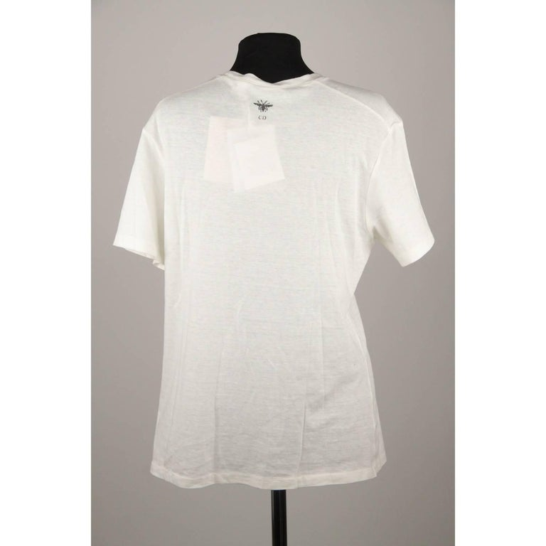 a314b680 CHRISTIAN DIOR White Cotton and Linen J'Adior 8 Tee Top T Shirt Size ...