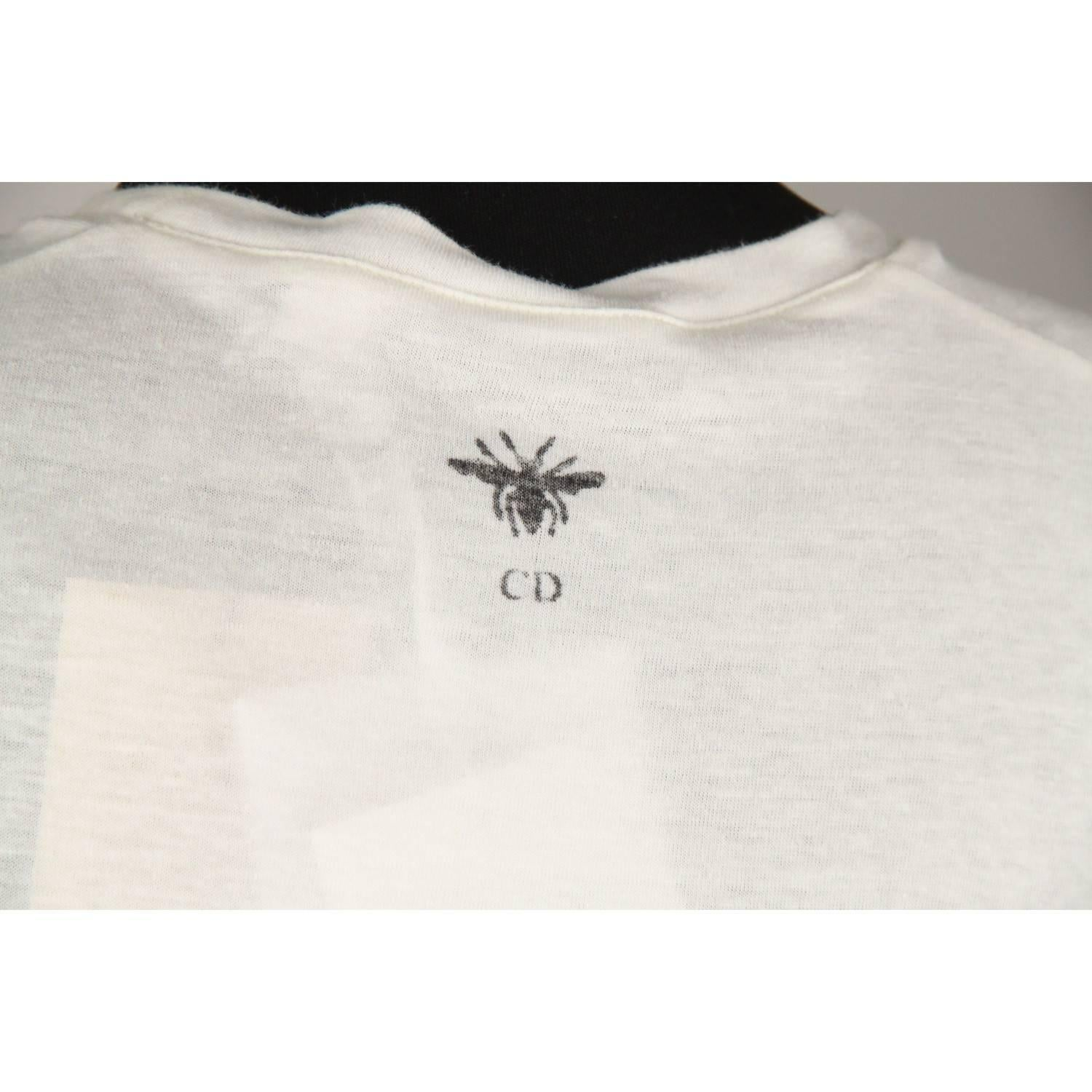 a60d8a5c CHRISTIAN DIOR White Cotton & Linen J'Adior 8 Tee Top T Shirt Size S