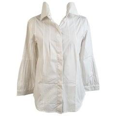 Christian Dior White Cotton Blend Button Down Shirt Size 44