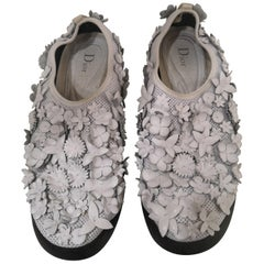 Christian Dior White flowers Shoes unworn