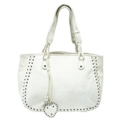 Christian Dior White Leather Heart Charm Ethnic Tote