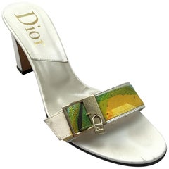 Christian Dior White Leather heels w/ Front Lock Detail - 39