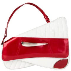 CHRISTIAN DIOR white leather & red patent CADILLAC SADDLE Shoulder Bag