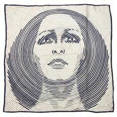 Christian Dior White & Navy Silk Face Print Scarf