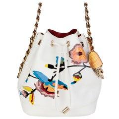 CHRISTIAN DIOR white PRINTED leather CRUISE 2016 LTD ED Bucket Shoulder Bag