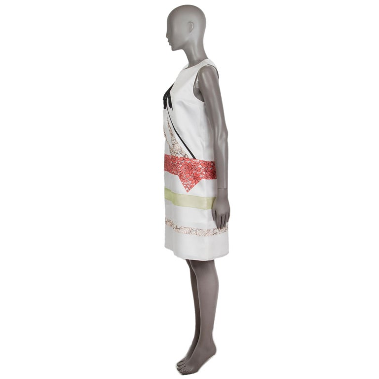 Christian Dior lace-panelled shift dress in off-white, black, coral, rose, and sage silk (100%). Closes with hook and invisible zipper on the back. Lined in off-white silk (100%). Has been worn and is in excellent condition.   Tag Size 38 Size