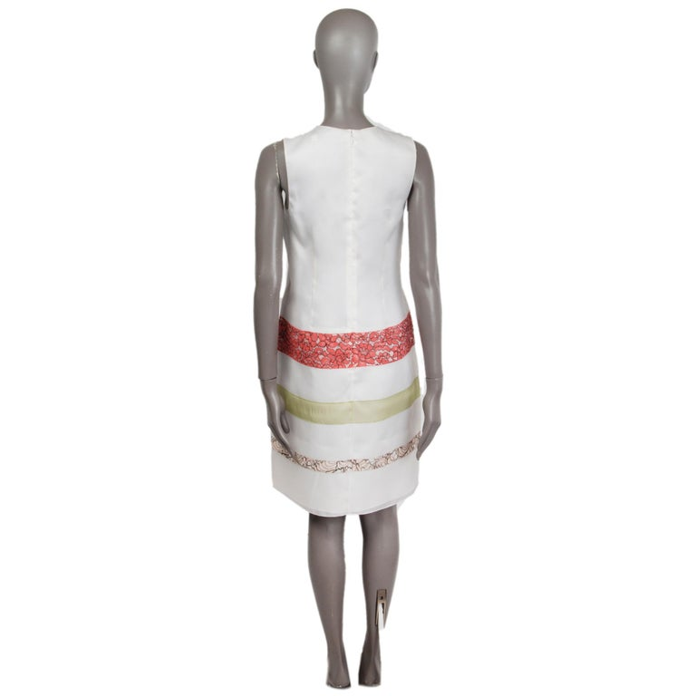 Gray CHRISTIAN DIOR white silk LACE PANELED Cocktail Dress 38 S For Sale