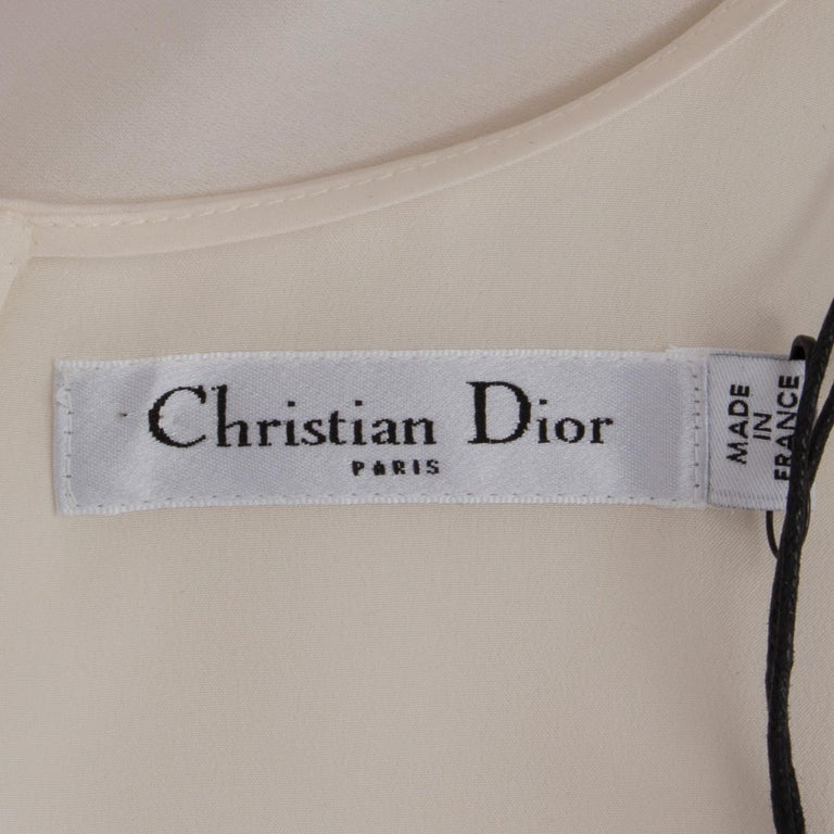 Women's CHRISTIAN DIOR white silk LACE PANELED Cocktail Dress 38 S For Sale