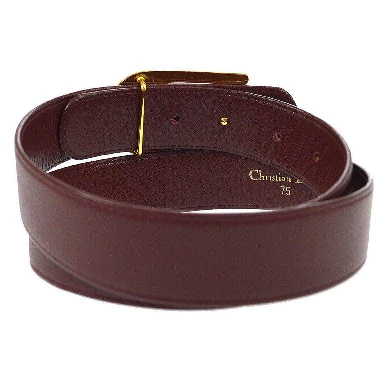 Black Christian Dior Wine Leather Gold Large 'D' Logo Waist Belt For Sale