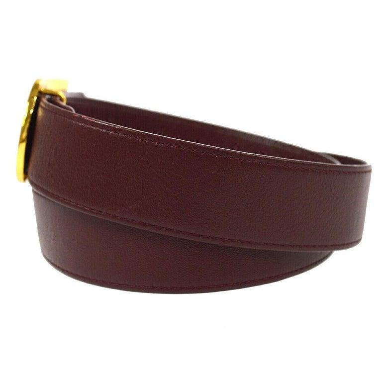 Women's Christian Dior Wine Leather Gold Large 'D' Logo Waist Belt For Sale