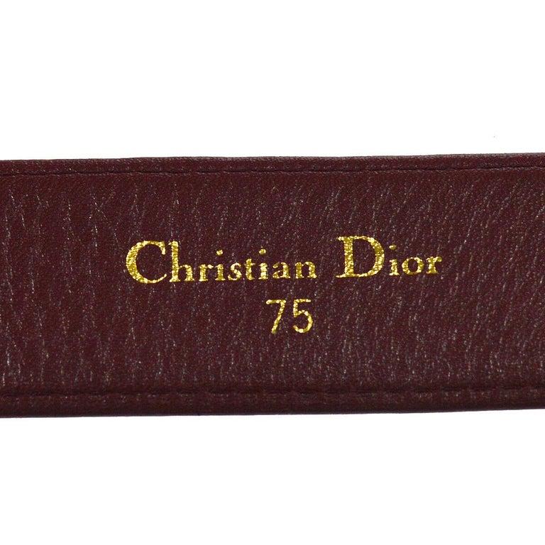 Christian Dior Wine Leather Gold Large 'D' Logo Waist Belt For Sale 1