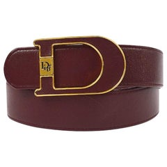 Christian Dior Wine Leather Gold Large 'D' Logo Waist Belt