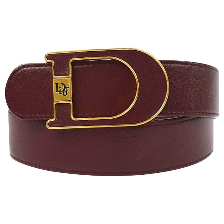 Christian Dior Wine Leather Gold Large 'D' Logo Waist Belt For Sale