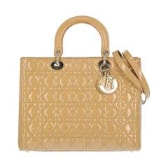 Christian Dior Women's Handbag Lady Dior Beige Leather