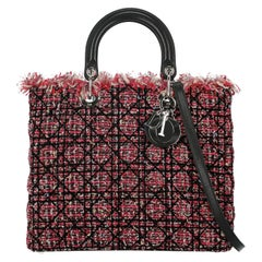 Christian Dior Women's Handbag Lady Dior Black/Multicolor/Pink Synthetic Fibers