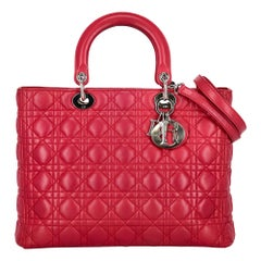 Christian Dior Women's Handbag Lady Dior Pink Leather