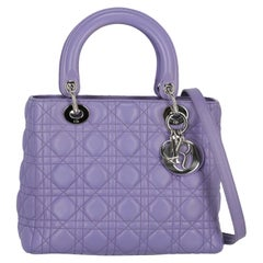Christian Dior Women's Handbag Lady Dior Purple Leather