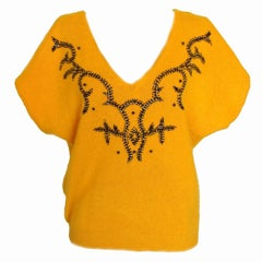 Christian Dior Yellow Angora Sweater with Bead Detailing Size L