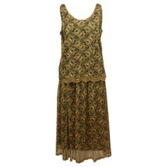 Christian Dior Yellow & Black Lace Skirt Set