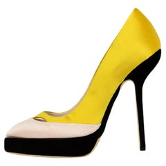 Christian Dior Yellow/Black/Pink Satin Platform Pumps sz 39