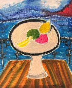 Coupe de fruit sur le balcon, Large French Expressionist Oil Painting