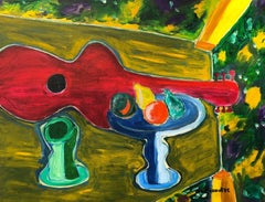 Guitare rouge sur table verte,  Large French Expressionist Oil Painting