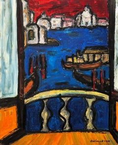 Venezia, Large French Expressionist Oil Painting