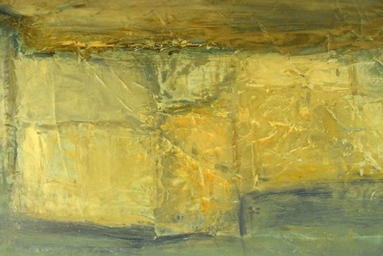 Danish Christian Dyekjær, Modernist Landscape, Oil on Canvas, Dated 1965 For Sale