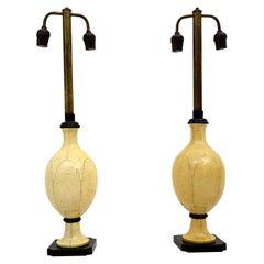 Christian Fersen Luxury Table Lamps Bone Lacquer Monterrey Mexico Regency 1950s