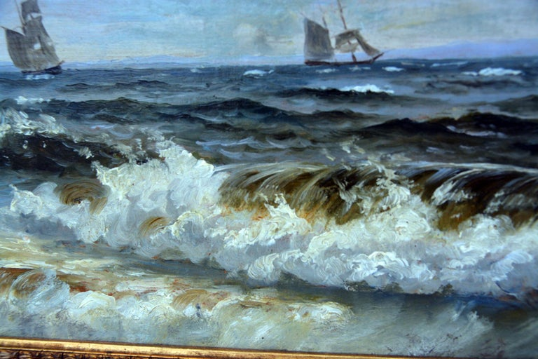 Christian Frederik Emil Eckardt - Sailing Ships, 1880s. Oil on wooden panel. Signed: