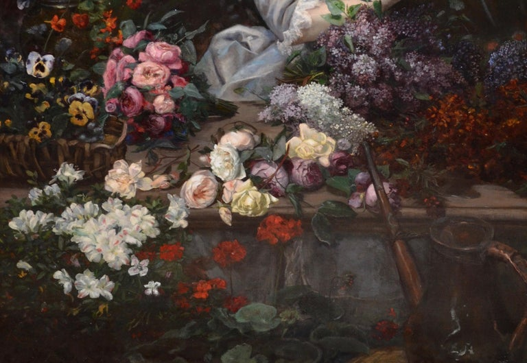 Beautiful French Woman Arranging Flowers in Atrium Conservatory Greenhouse 1884  - Painting by Christian Henri Roullier